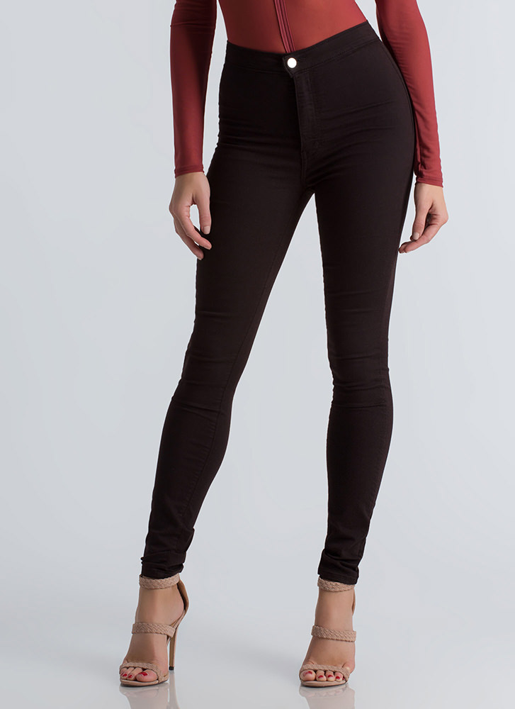 Feel The High-Waisted Skinny Jeans CHOCOLATE