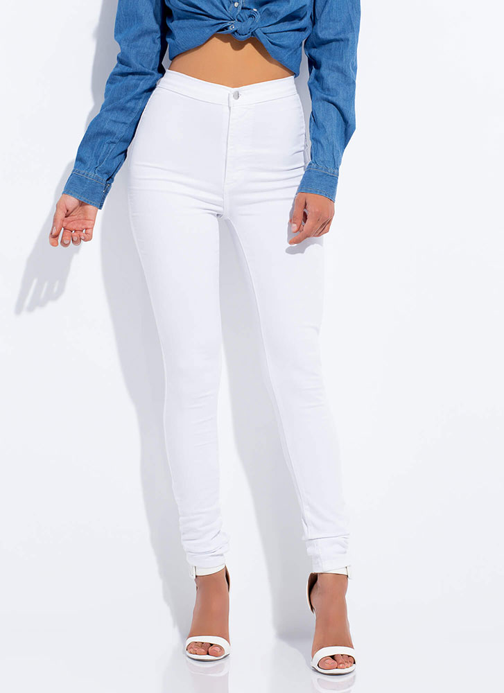 Feel The High-Waisted Skinny Jeans WHITE
