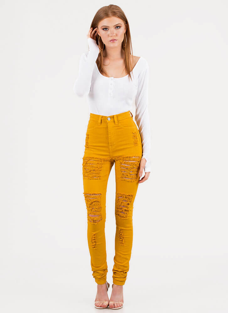 Shred-y To Rock Skinny Jeans MUSTARD
