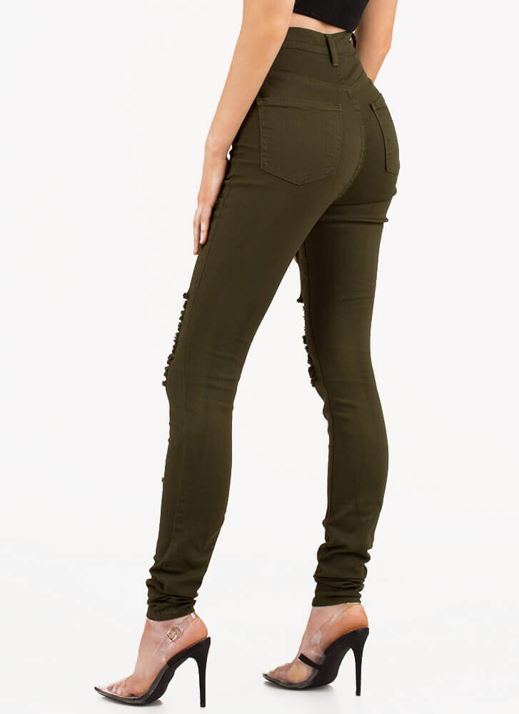 Shred-y To Rock Skinny Jeans OLIVE