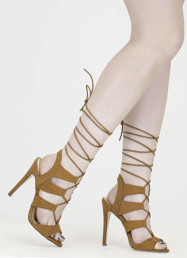 Master Plan Lace-Up Heels TAN