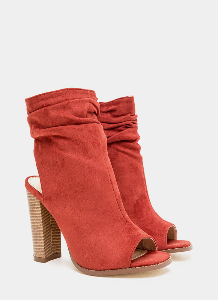 Heel Me Slouchy Cut-Out Booties CINNAMON