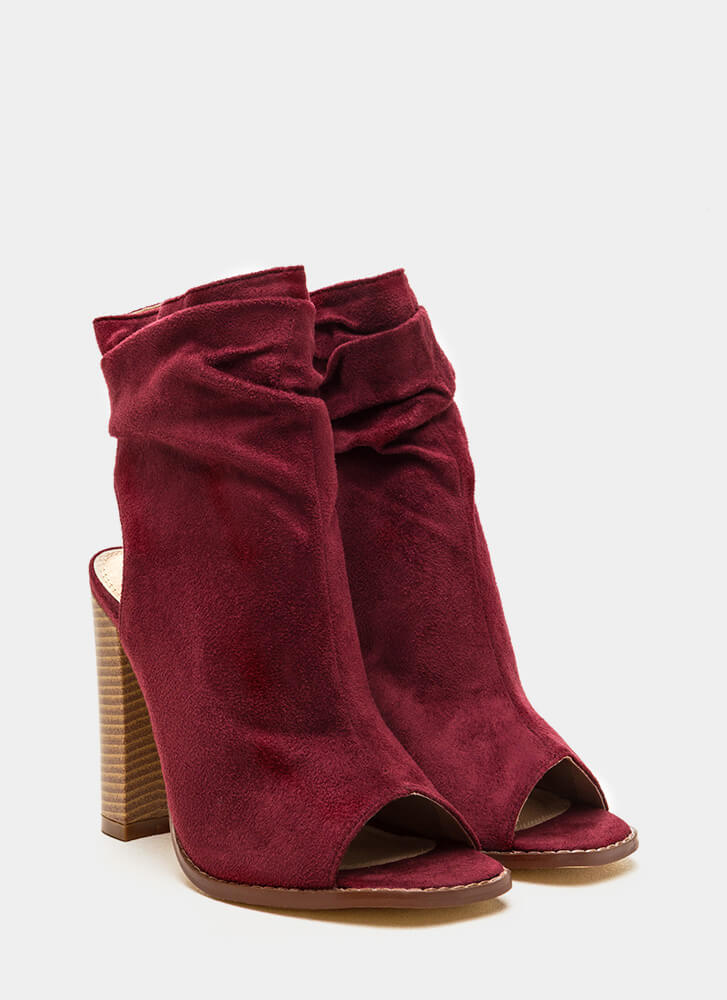 Heel Me Slouchy Cut-Out Booties WINE