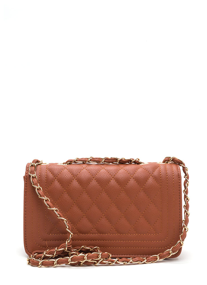 High Class Quilted Faux Leather Purse TAN