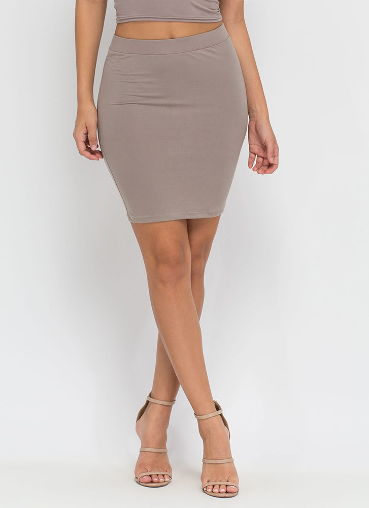 Go Micro Knit Miniskirt TAUPE