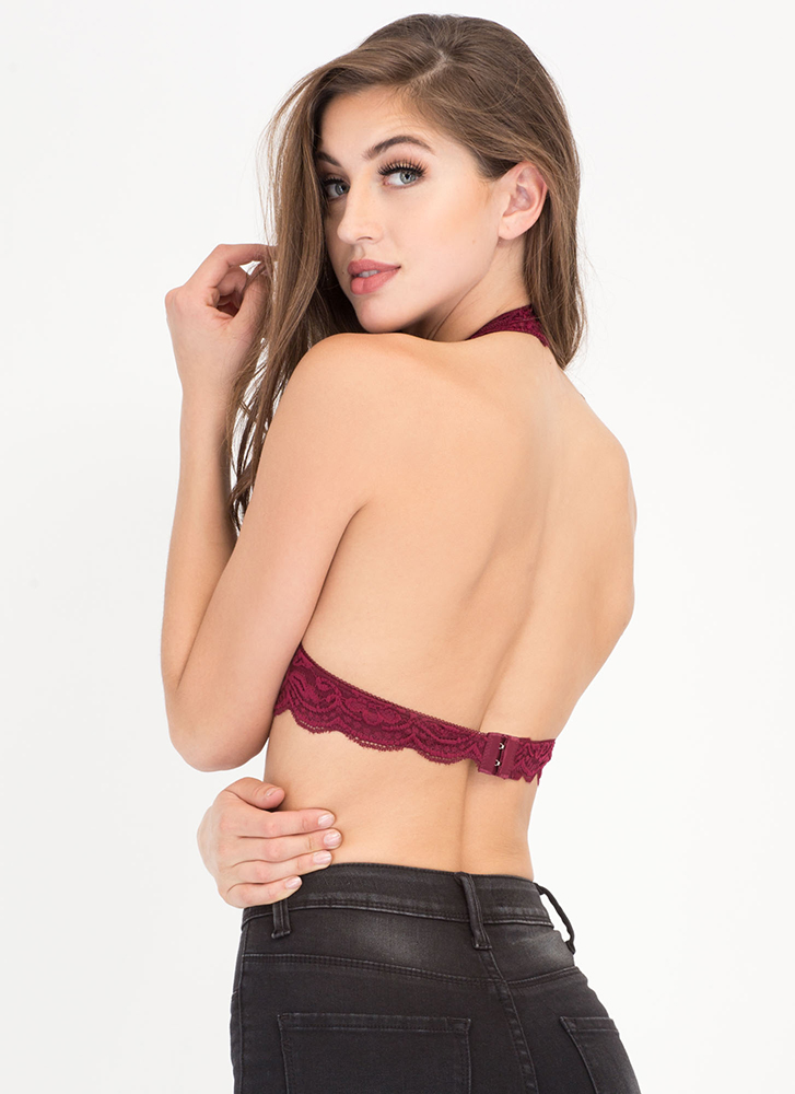 Frill Of The Chase Lace Bralette BURGUNDY (Final Sale)