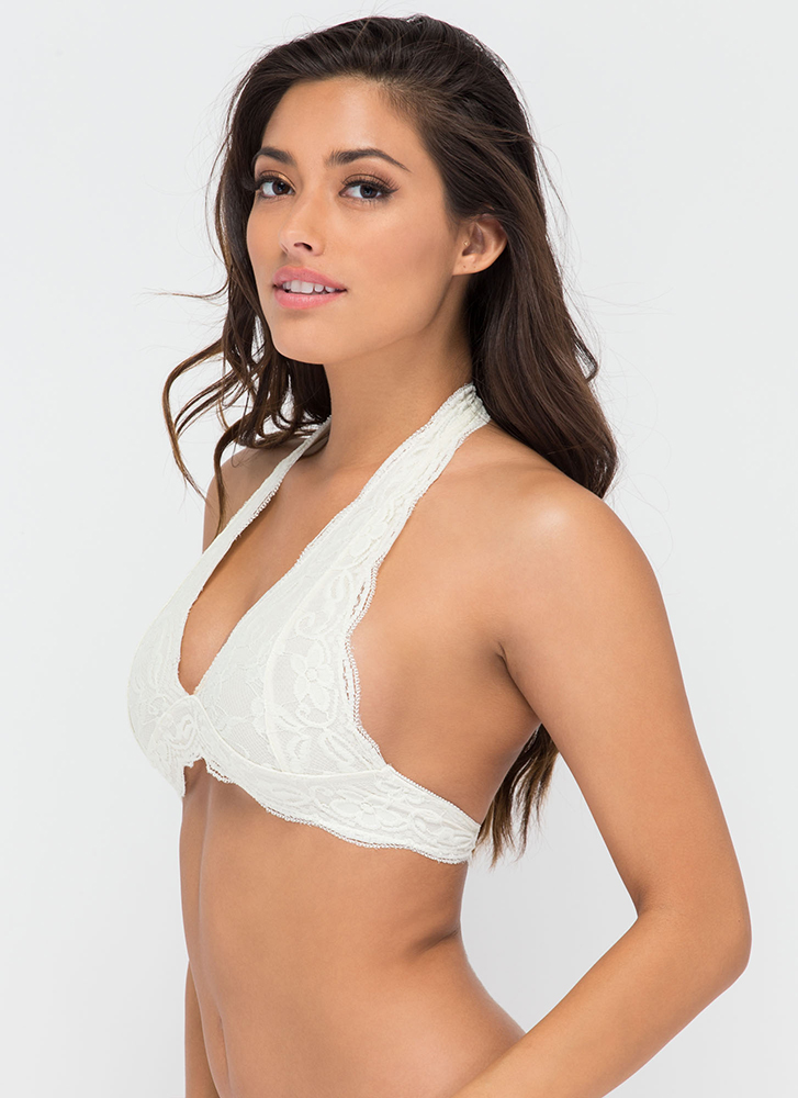 Frill Of The Chase Lace Bralette IVORY