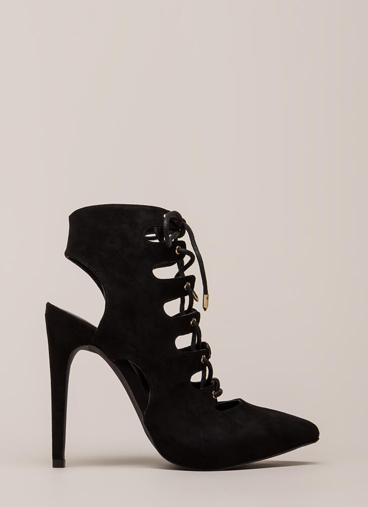 All In Order Lace-Up Faux Suede Heels BLACK (Final Sale)