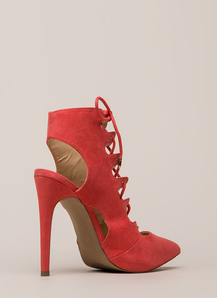 All In Order Lace-Up Faux Suede Heels DKCORAL (Final Sale)