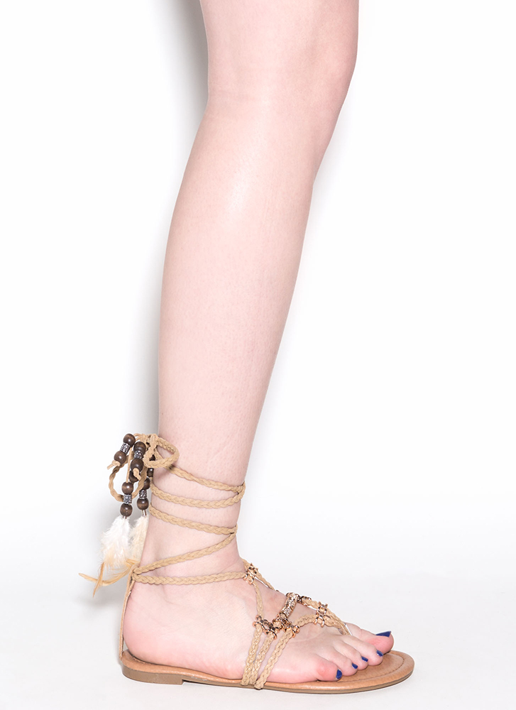 Desert Travel Boho Lace-Up Sandals BEIGE