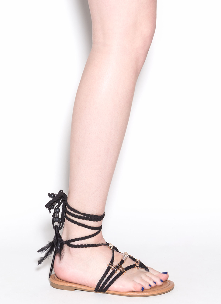Desert Travel Boho Lace-Up Sandals BLACK