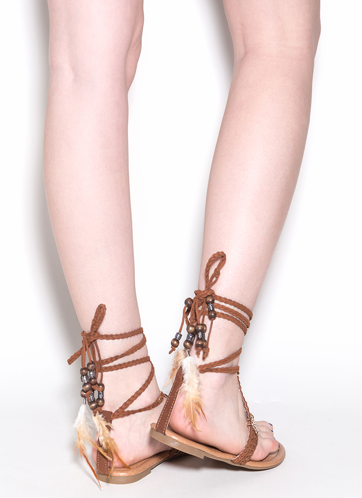 Desert Travel Boho Lace-Up Sandals BROWN