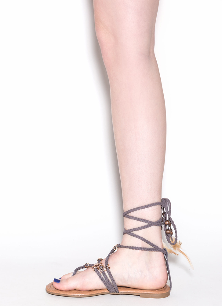 Desert Travel Boho Lace-Up Sandals GREY