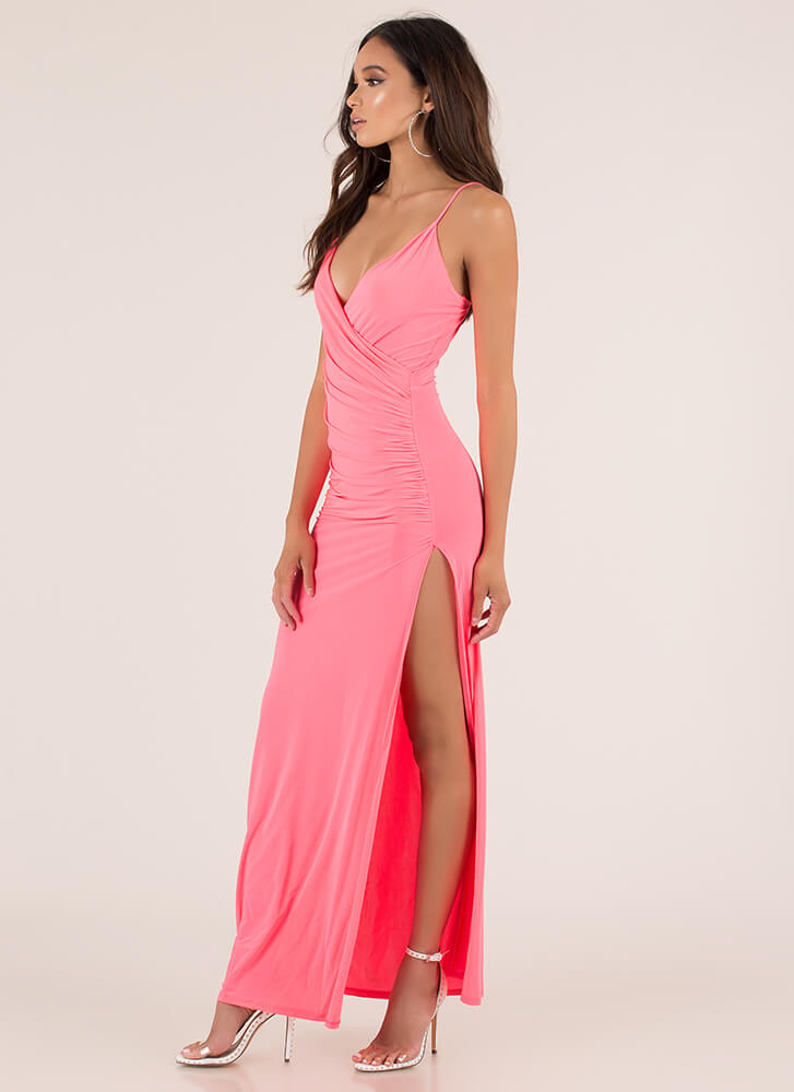 Evening Affair Ruched Maxi Dress NEONPINK