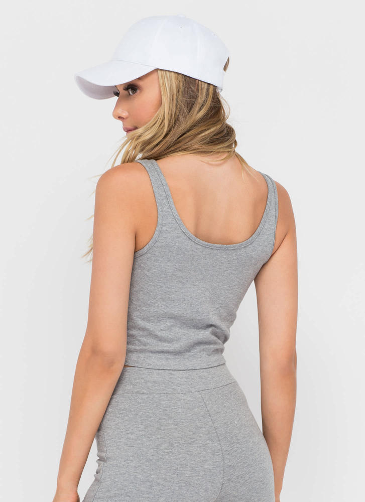 Basic Need Cropped Scoop Tank HGREY