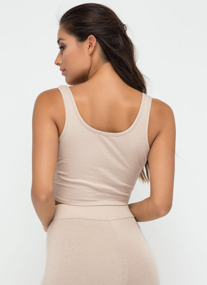 Basic Need Cropped Scoop Tank NUDE