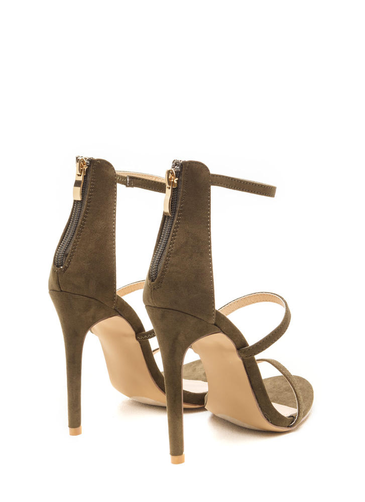 Three To One Faux Suede Strappy Heels OLIVE