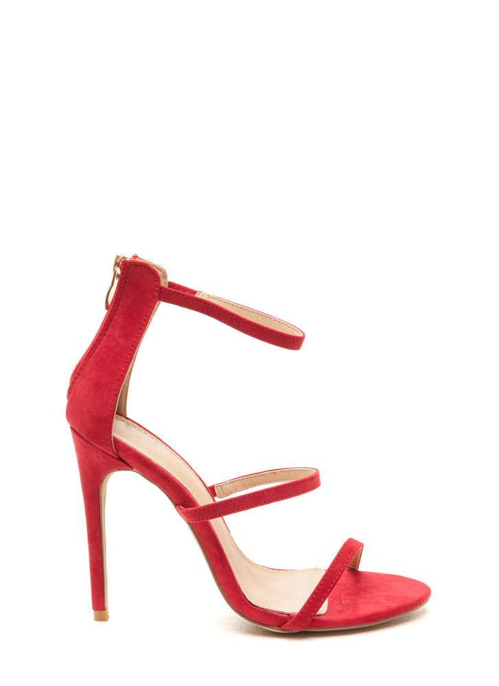 Three To One Faux Suede Strappy Heels RED