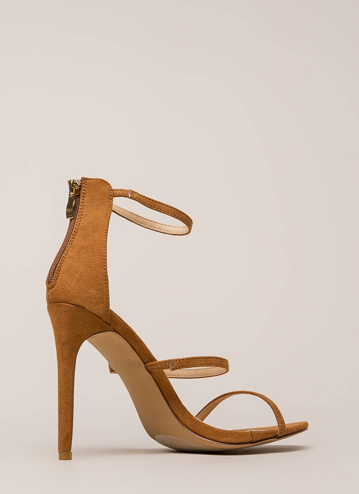 Three To One Faux Suede Strappy Heels TAN