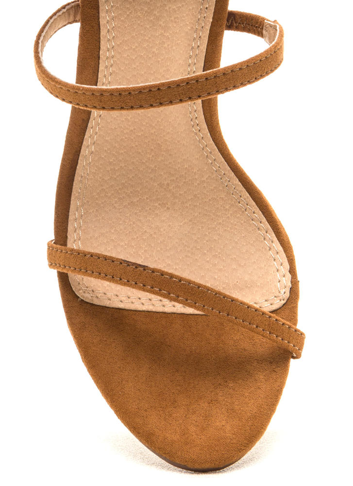 Three To One Faux Suede Strappy Heels TAN (Final Sale)