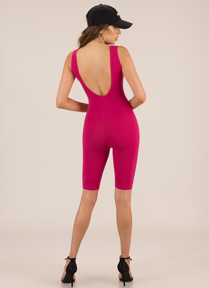Get The Scoop Cropped Jumpsuit FUCHSIA