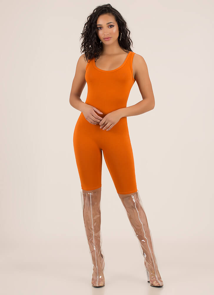 Get The Scoop Cropped Jumpsuit RUST