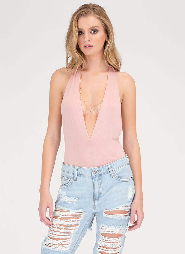 Can You Bare It Plunging Halter Bodysuit MAUVE