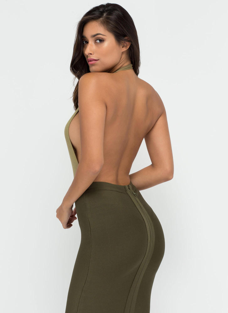 Can You Bare It Plunging Halter Bodysuit OLIVE (Final Sale)
