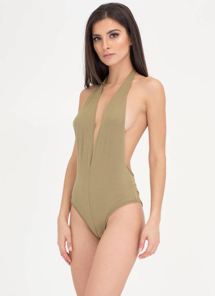 Can You Bare It Plunging Halter Bodysuit SAGE