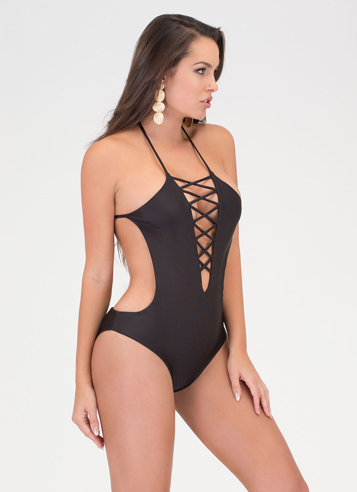 Right Places Lace-Up One-Piece Swimsuit BLACK