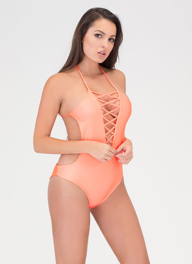 Right Places Lace-Up One-Piece Swimsuit CORAL