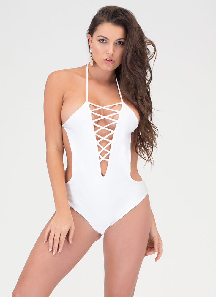 Right Places Lace-Up One-Piece Swimsuit WHITE