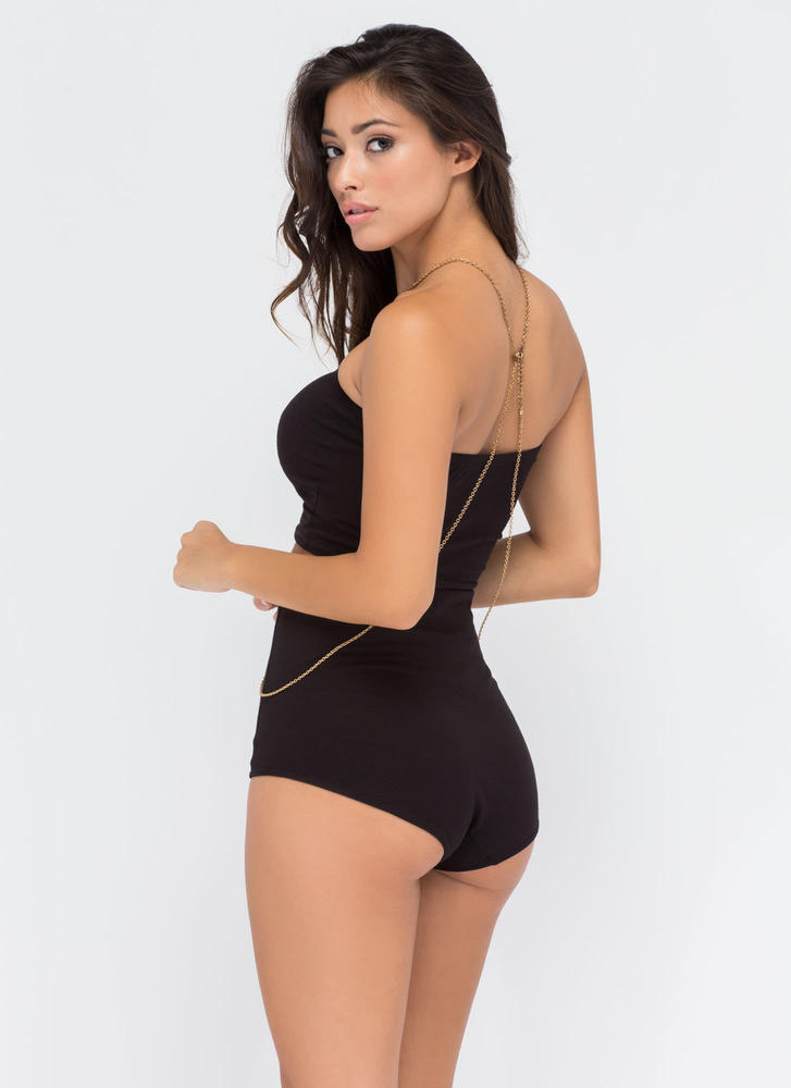 Two Become One Bandeau 'N Hotshorts Set BLACK