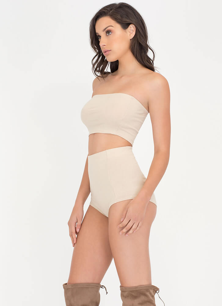 Two Become One Bandeau 'N Hotshorts Set KHAKI