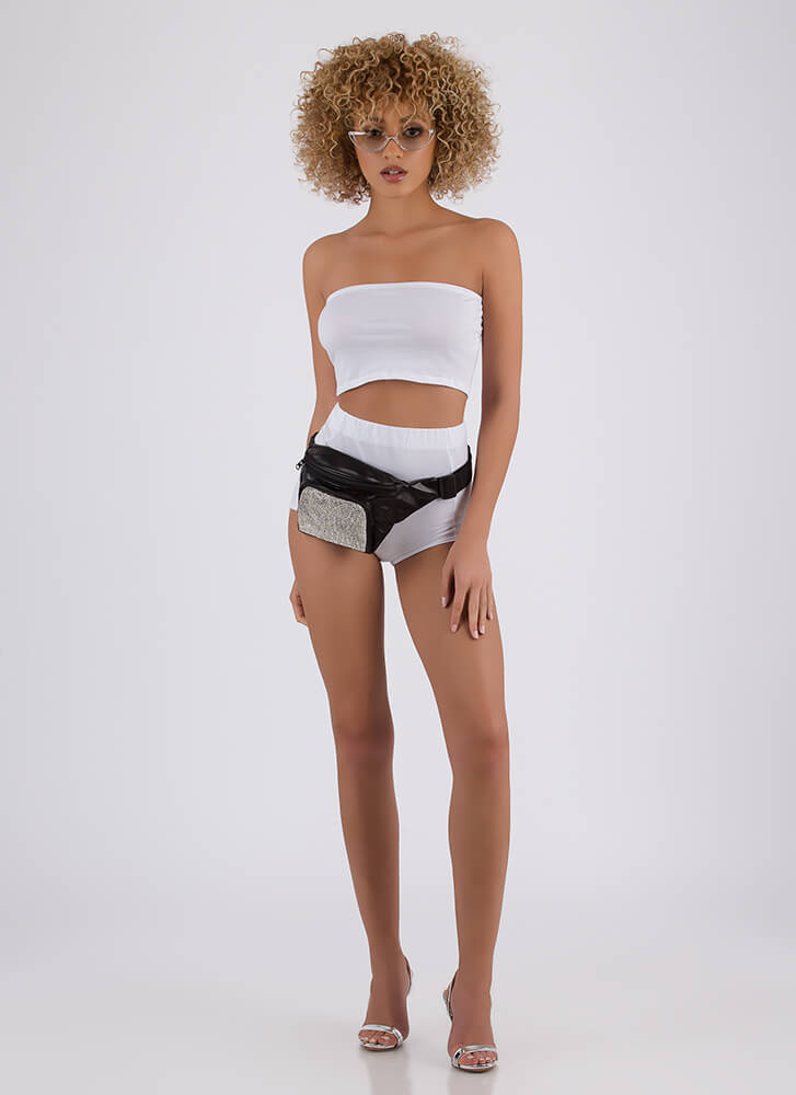 Two Become One Bandeau 'N Hotshorts Set WHITE