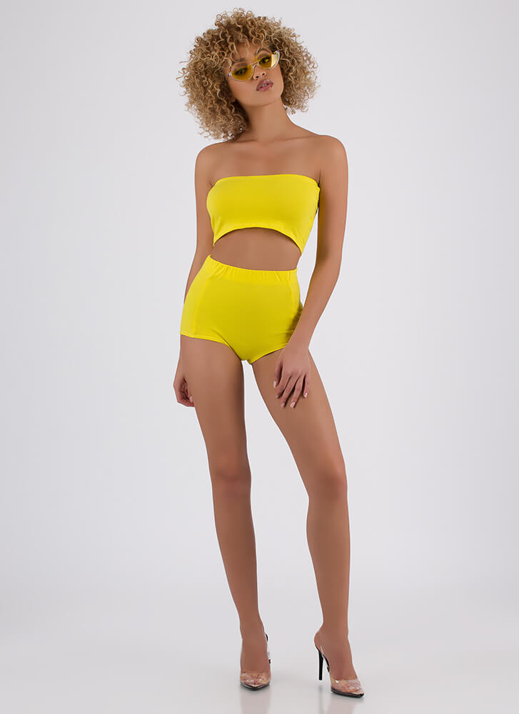 Two Become One Bandeau 'N Hotshorts Set YELLOW