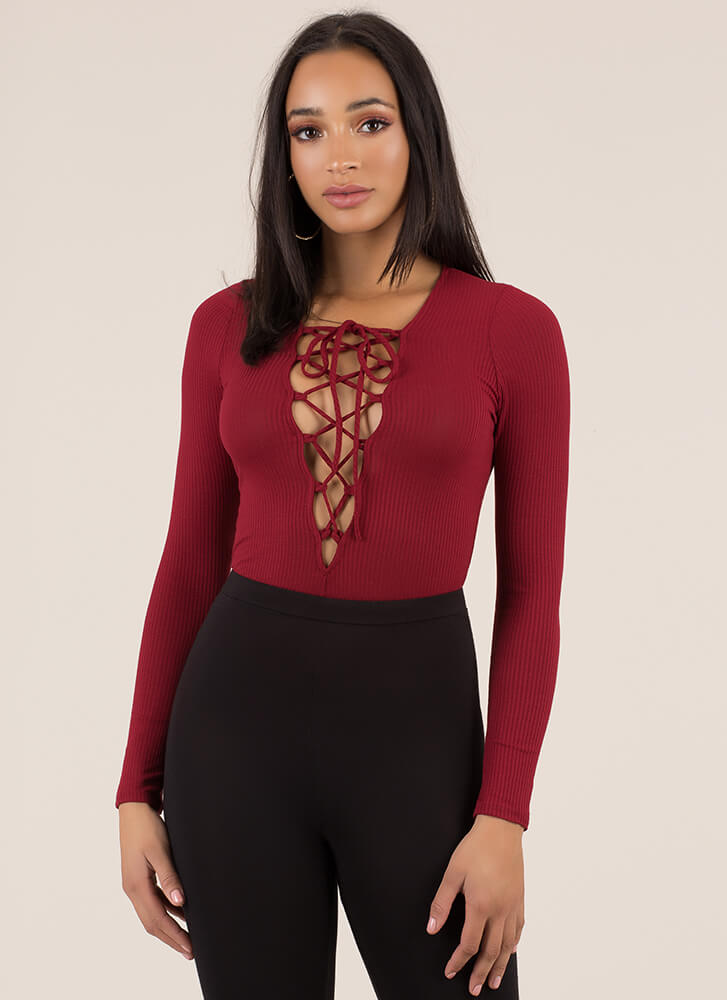 On Call Ribbed Lace-Up Thong Bodysuit BURGUNDY