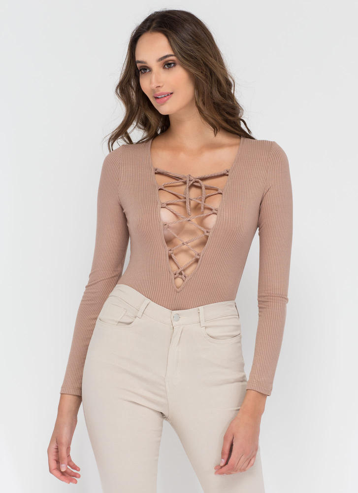 On Call Ribbed Lace-Up Thong Bodysuit MOCHA