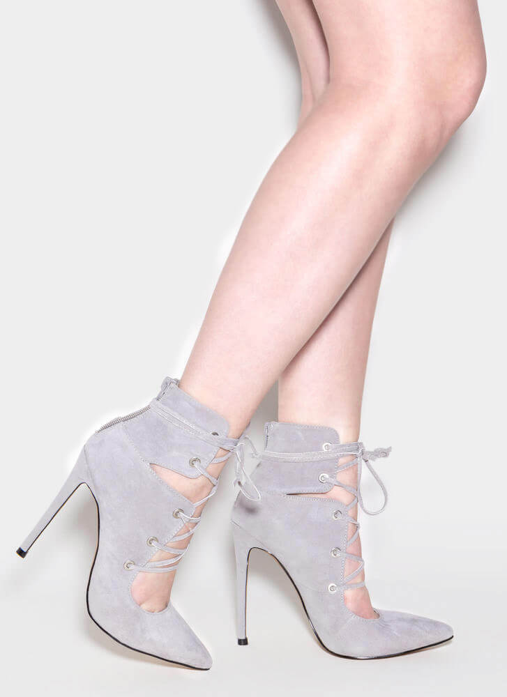 En Pointe Faux Suede Lace-Up Heels GREY