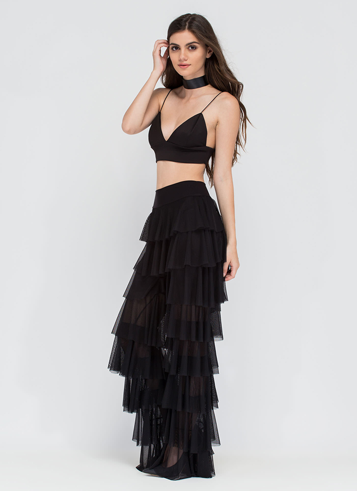 Ruffle It Up Tiered Mesh Pants BLACK