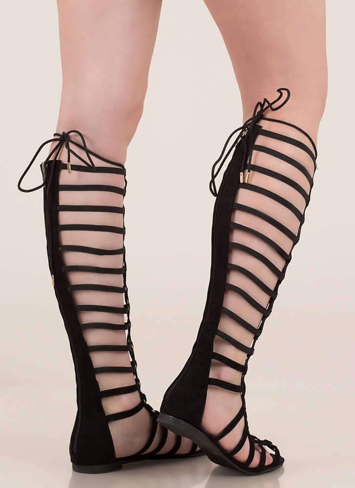 Power Pose Faux Suede Gladiator Sandals BLACK