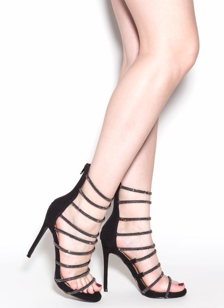 Seductive Shine Strappy Rhinestone Heels BLACK