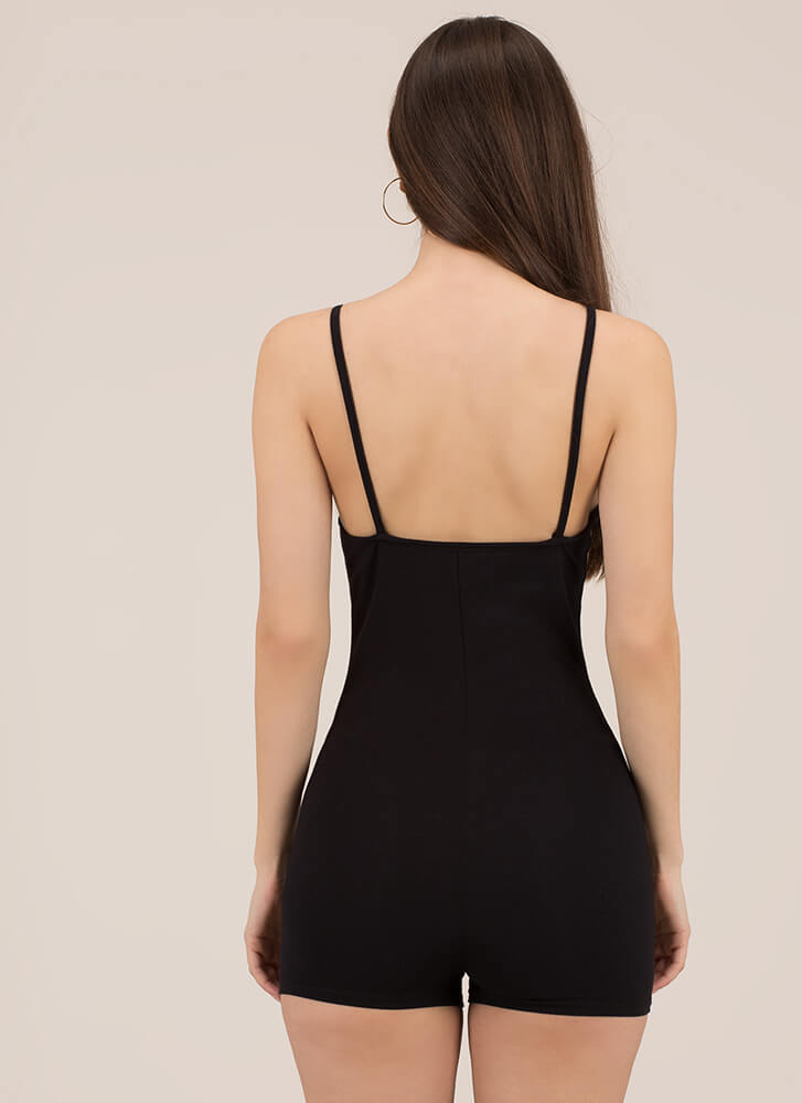 Beauty In The Basic Solid Romper BLACK