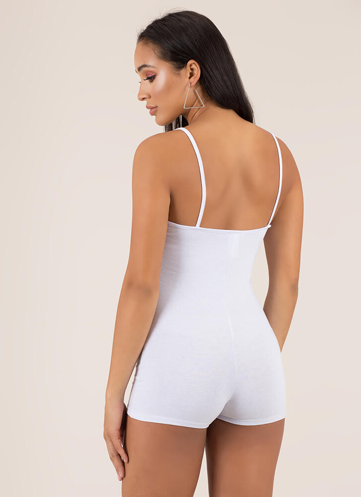 Beauty In The Basic Solid Romper WHITE