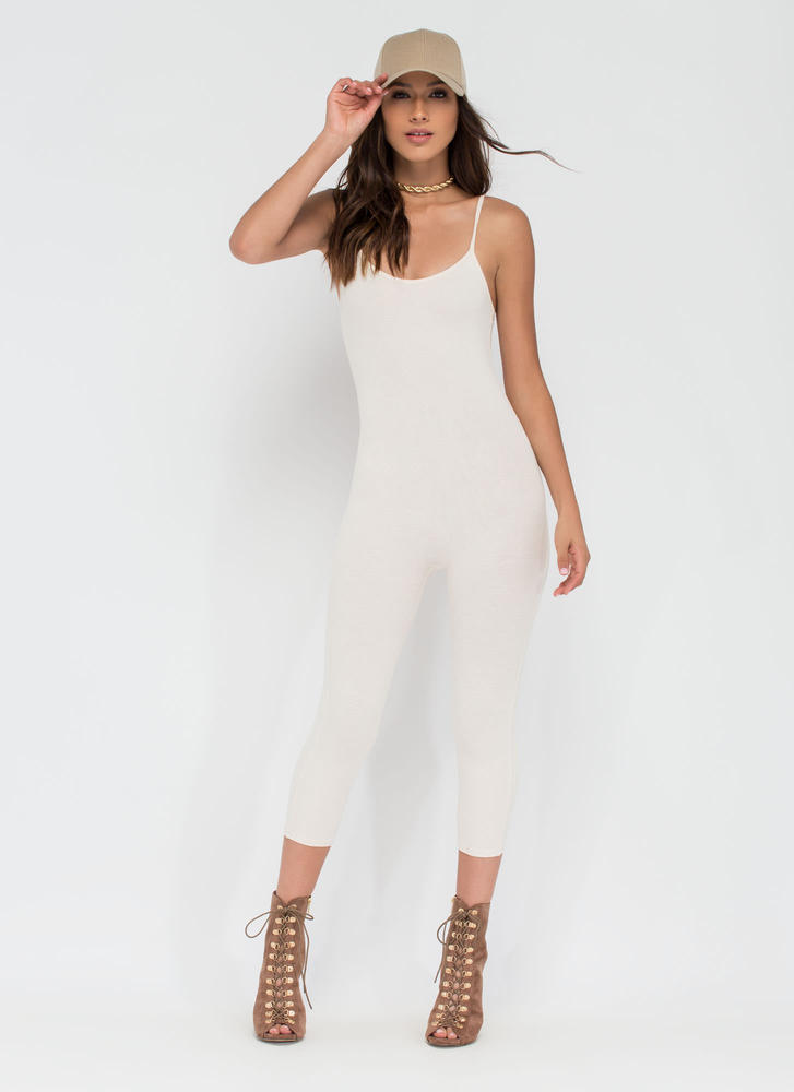 Eyes On You Basic Cropped Jumpsuit NUDE (You Saved $11)