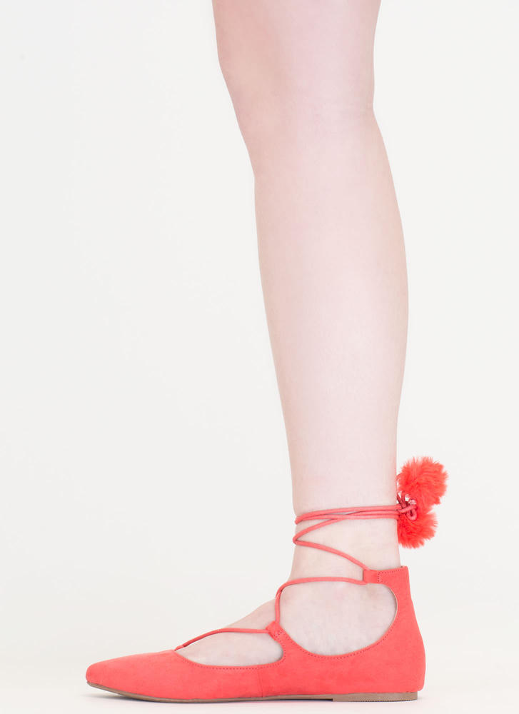 Like A Lady Lace-Up Pom-Pom Flats HOTCORAL