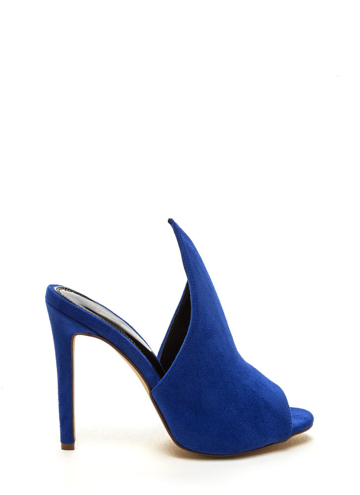 To The Point Faux Suede Mule Heels BLUE