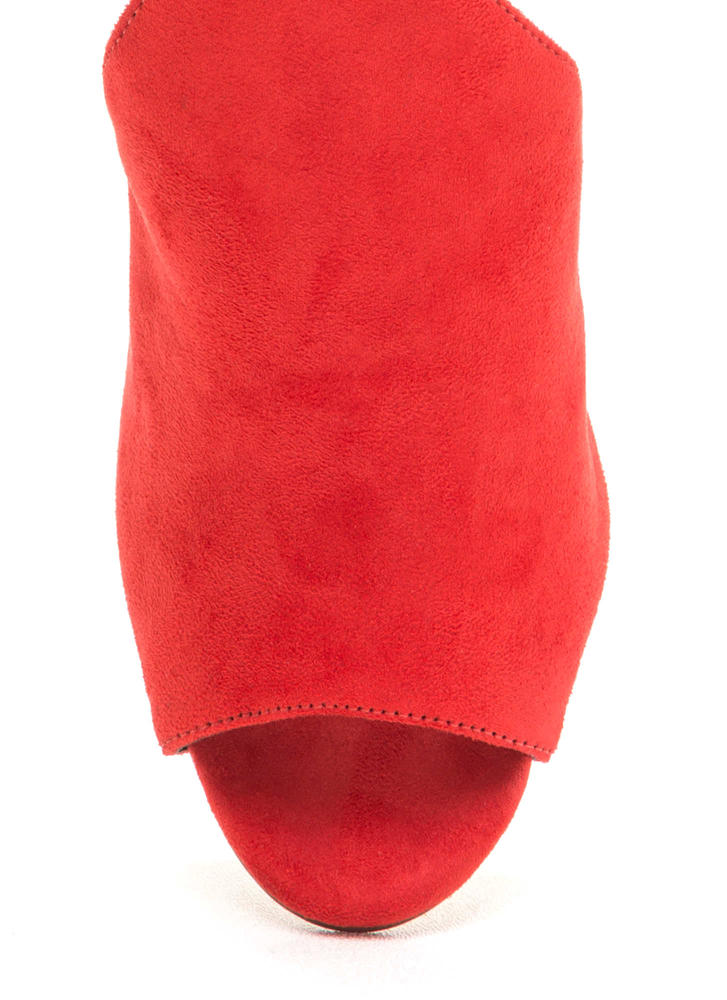 To The Point Faux Suede Mule Heels RED