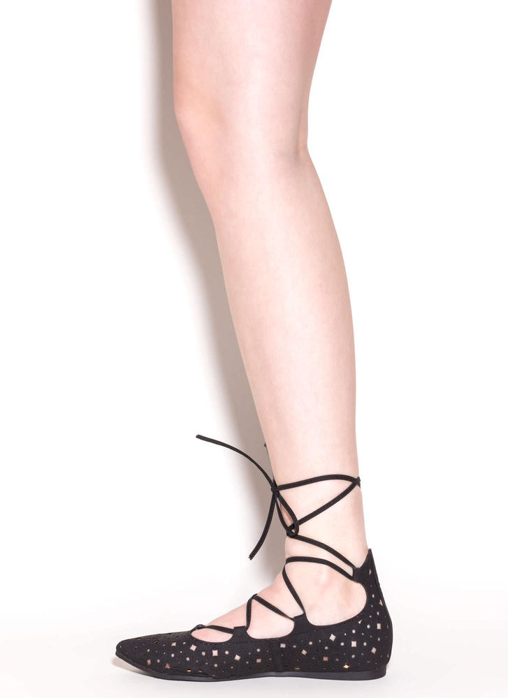 Totally Perf Lace-Up Faux Leather Flats BLACK (Final Sale)