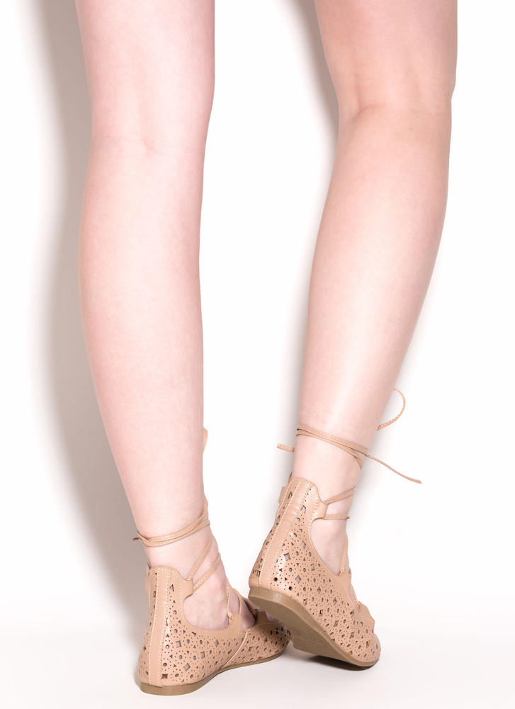 Totally Perf Lace-Up Faux Leather Flats NUDE (Final Sale)